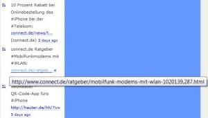 Einsatz des Add-ons: Anzeige des kompletten Links beim mouseover