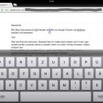 iPad, horizontaler Bearbeitungsmodus mit Tastatur