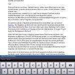 iPad, vertikaler Bearbeitungsmodus mit Tastatur