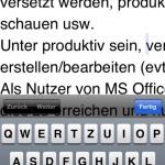 iPhone 5, vertikaler Bearbeitungsmodus mit Tastatur