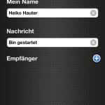 Eingabe von optionalem Namen und/oder Nachricht