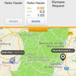 Kartenansicht in Glympse auf Mobilgerät