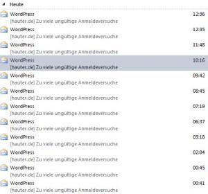 Screenshot der von Limit Login Attempts verschickten Email