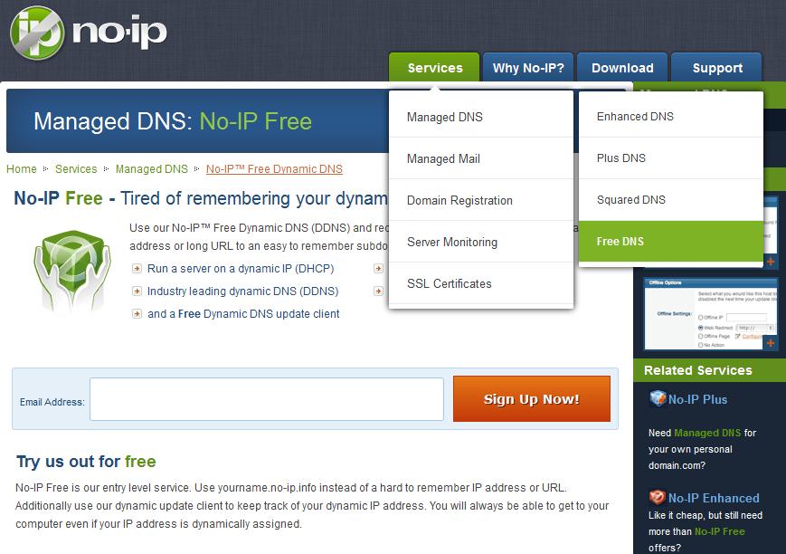 Auswahl eines kostenlosen DynDNS-Accounts bei noip.com
