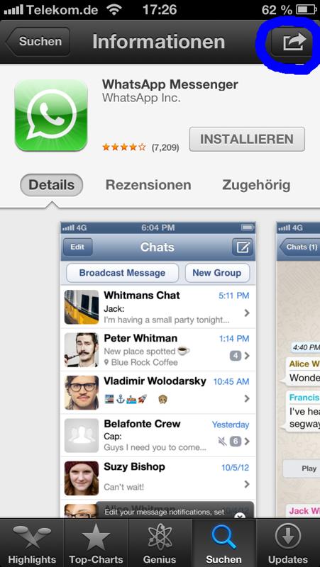 Zu verschenkende App auswählen und durch Drücken auf den Versenden Button (oben rechts)...