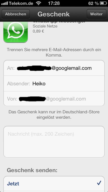 Email-Adresse der/des Emfängers des Geschenkes eingeben...
