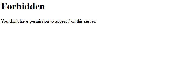 Ansicht im Browser bei einer via .htaccess gesperrten IP-Adresse