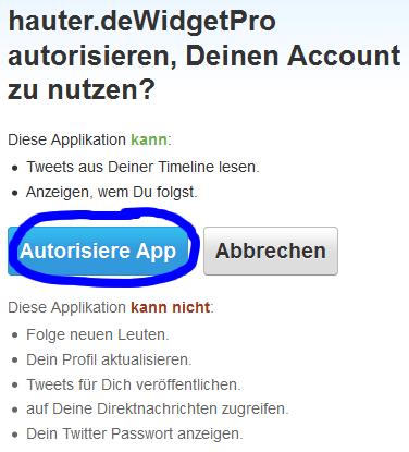 Erstellte Applikation bei Twitter autorisieren