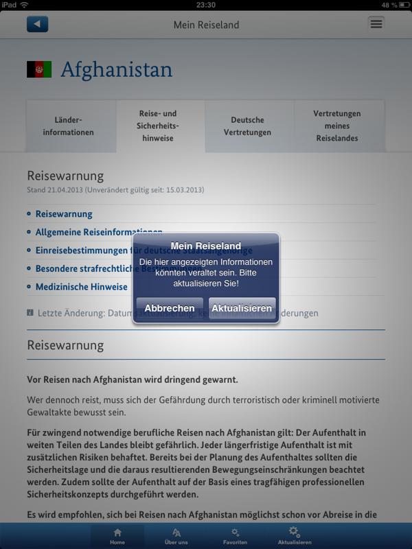 Detaillierte Länderinfo (iPad) - Hinweis auf evtl. Aktualisierungen