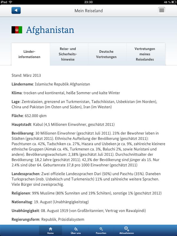 Detaillierte Länderinfo (iPad)