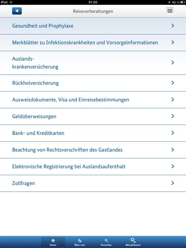 Reisevorbereitungen (iPad)