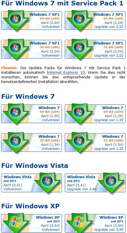Verschiedene Versionen der Windows Update Packs