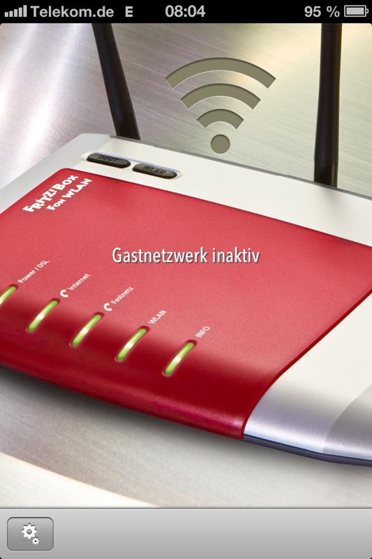 Gastnetzwerk inaktiv - Steuerung über Internet, zu sehen am E für EDGE