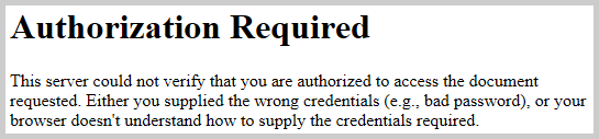 Fehlermeldung im Browser bei falschem Passwort oder Benutzername