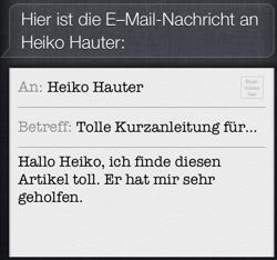 Mit Siri eine Email erfolgreich diktiert