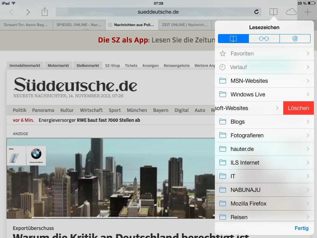 Ansicht der synchronisierten Links (inkl. Möglichkeit der Bearbeitung) auf dem iPad